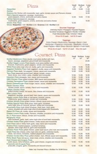 Nick's Pizza Menu