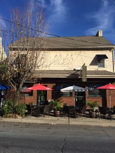 Exterior of Nick's Pizza Restaurant with outdoor seating