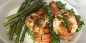 Lobster tails with asparagus side dish